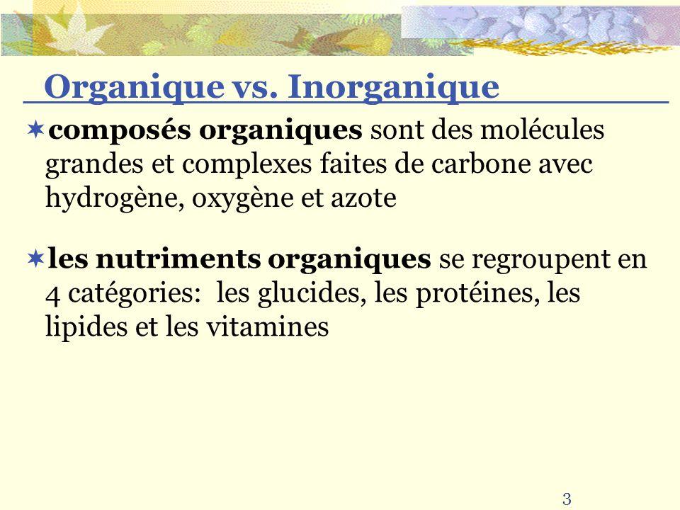composés organiques sont des molécules grandes et complexes faites de carbone avec hydrogène, oxygène et azote les nutriments organiques se regroupent