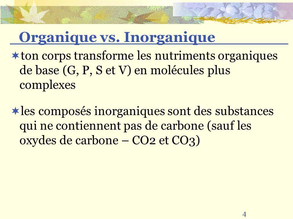 ton corps transforme les nutriments organiques de base (G, P, S et V) en molécules plus complexes les composés inorganiques sont des substances qui ne contiennent pas de carbone (sauf les oxydes de carbone – CO2 et CO3) 4 Organique vs.