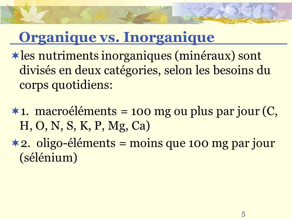 les nutriments inorganiques (minéraux) sont divisés en deux catégories, selon les besoins du corps quotidiens: 1. macroéléments = 100 mg ou plus par j