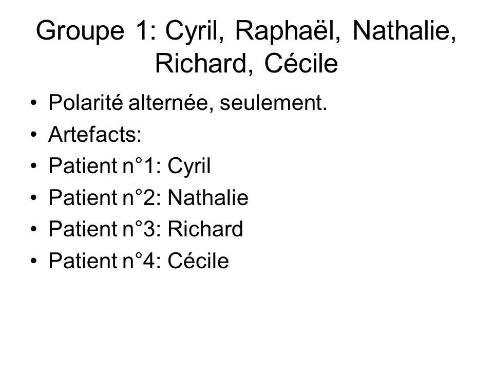 Groupe 1: Cyril, Raphaël, Nathalie, Richard, Cécile Polarité alternée, seulement.