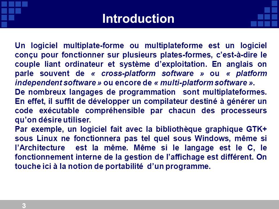 3 Introduction Un logiciel multiplate-forme ou multiplateforme est un logiciel conçu pour fonctionner sur plusieurs plates-formes, cest-à-dire le coup