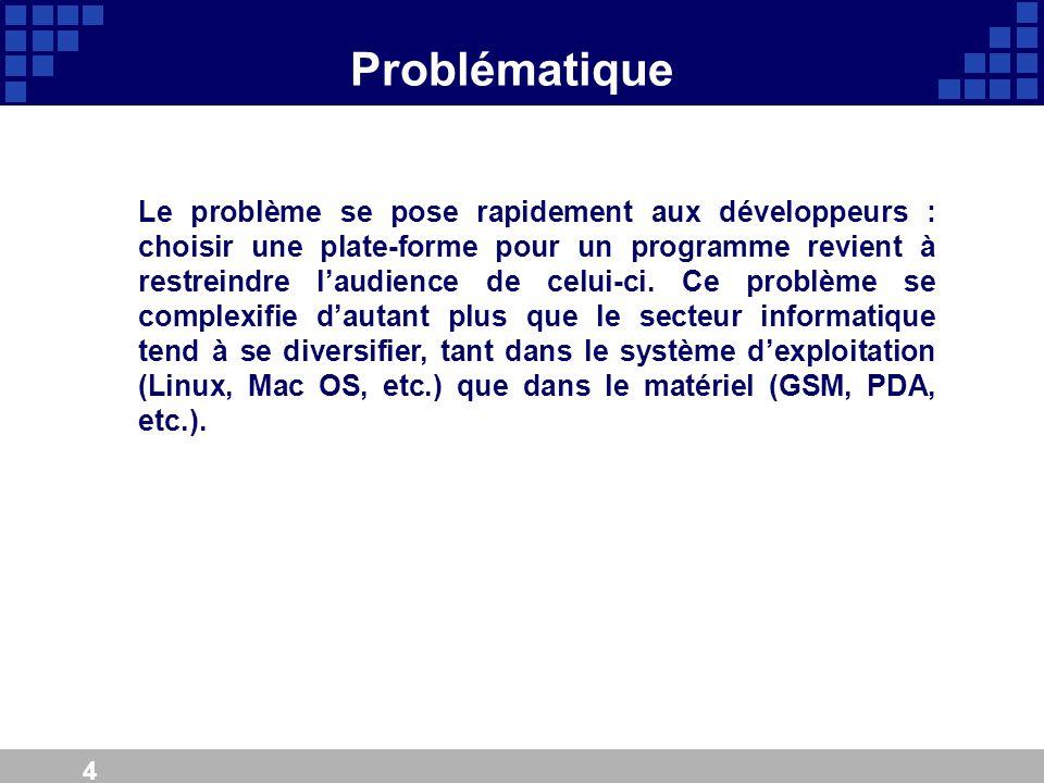 4 Problématique Le problème se pose rapidement aux développeurs : choisir une plate-forme pour un programme revient à restreindre laudience de celui-c