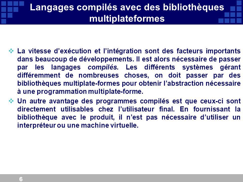 6 Langages compilés avec des bibliothèques multiplateformes La vitesse dexécution et lintégration sont des facteurs importants dans beaucoup de dévelo