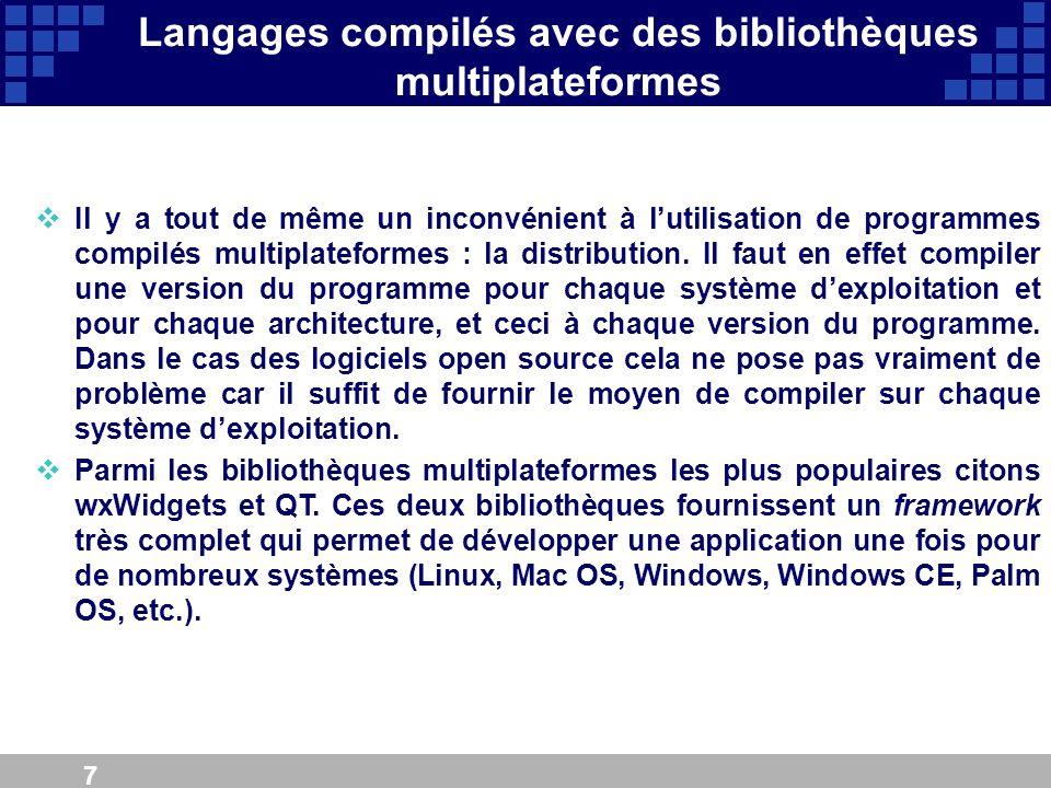7 Langages compilés avec des bibliothèques multiplateformes Il y a tout de même un inconvénient à lutilisation de programmes compilés multiplateformes