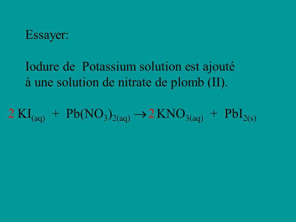 Essayer: Iodure de Potassium solution est ajouté à une solution de nitrate de plomb (II). KI (aq) + Pb(NO 3 ) 2(aq) KNO 3(aq) + PbI 2(s) 22