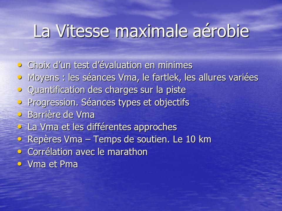 La Vitesse maximale aérobie Choix dun test dévaluation en minimes Choix dun test dévaluation en minimes Moyens : les séances Vma, le fartlek, les allu