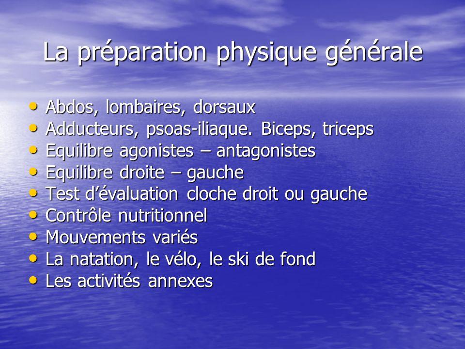 La préparation physique générale Abdos, lombaires, dorsaux Abdos, lombaires, dorsaux Adducteurs, psoas-iliaque. Biceps, triceps Adducteurs, psoas-ilia