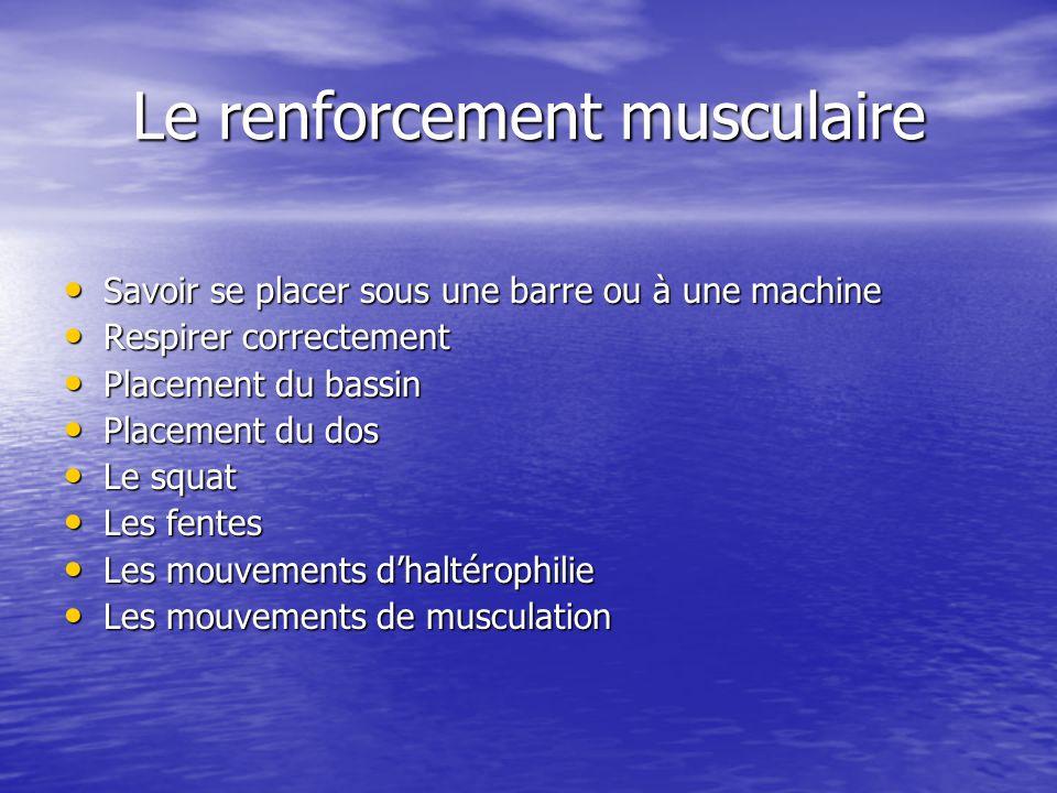 Le renforcement musculaire Savoir se placer sous une barre ou à une machine Savoir se placer sous une barre ou à une machine Respirer correctement Res