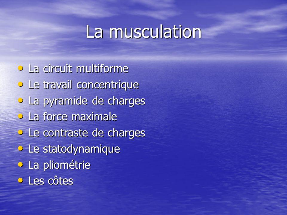 La musculation La circuit multiforme La circuit multiforme Le travail concentrique Le travail concentrique La pyramide de charges La pyramide de charg