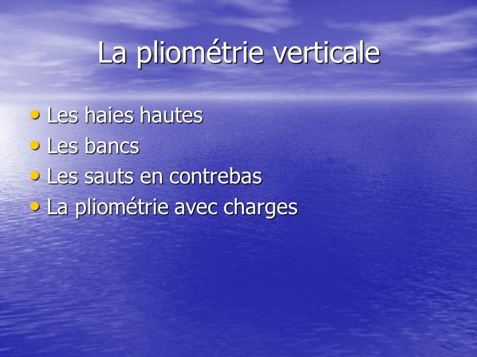 La pliométrie verticale Les haies hautes Les haies hautes Les bancs Les bancs Les sauts en contrebas Les sauts en contrebas La pliométrie avec charges La pliométrie avec charges