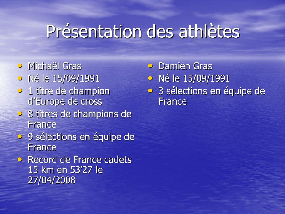 Présentation des athlètes Michaël Gras Michaël Gras Né le 15/09/1991 Né le 15/09/1991 1 titre de champion dEurope de cross 1 titre de champion dEurope de cross 8 titres de champions de France 8 titres de champions de France 9 sélections en équipe de France 9 sélections en équipe de France Record de France cadets 15 km en 5327 le 27/04/2008 Record de France cadets 15 km en 5327 le 27/04/2008 Damien Gras Damien Gras Né le 15/09/1991 Né le 15/09/1991 3 sélections en équipe de France 3 sélections en équipe de France