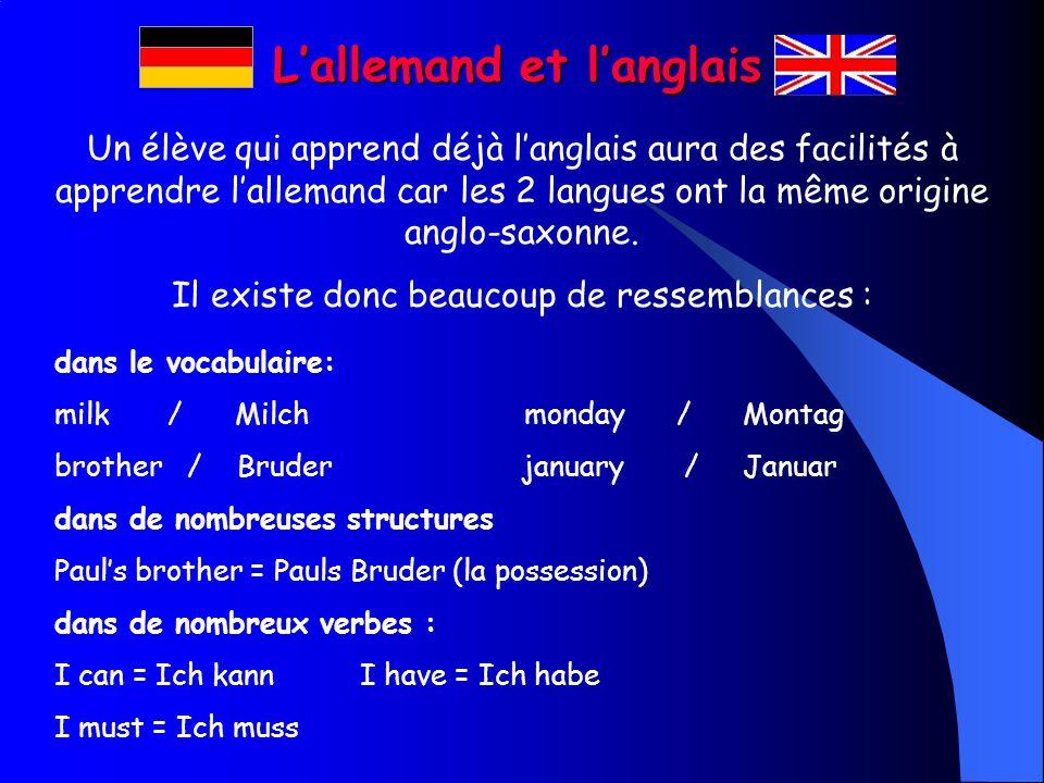 Lallemand et langlais Un élève qui apprend déjà langlais aura des facilités à apprendre lallemand car les 2 langues ont la même origine anglo-saxonne.