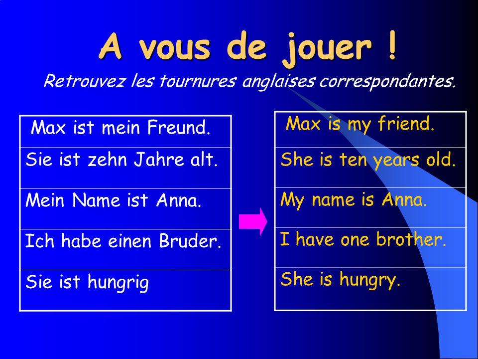 A vous de jouer ! Max ist mein Freund. Sie ist zehn Jahre alt. Mein Name ist Anna. Ich habe einen Bruder. Sie ist hungrig Max is my friend. She is ten