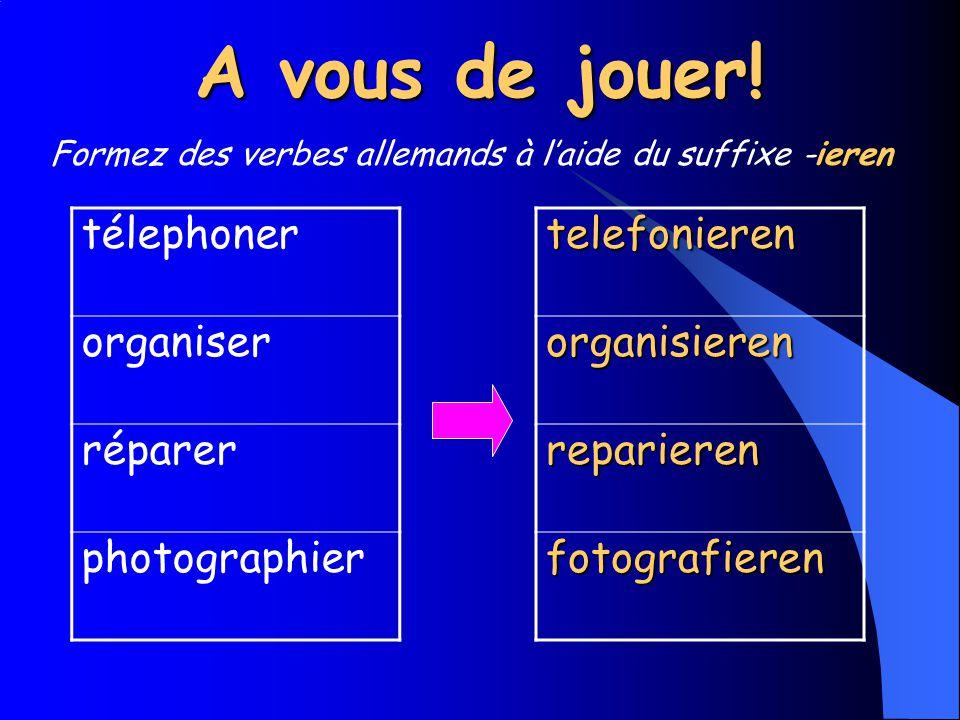 A vous de jouer! télephoner organiser réparer photographiertelefonierenorganisieren reparieren fotografieren ieren Formez des verbes allemands à laide