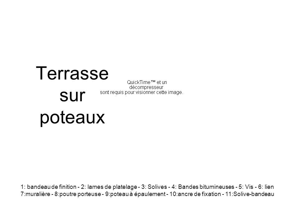 Terrasse sur poteaux 1: bandeau de finition - 2: lames de platelage - 3: Solives - 4: Bandes bitumineuses - 5: Vis - 6: lien 7:muralière - 8:poutre porteuse - 9:poteau à épaulement - 10:ancre de fixation - 11:Solive-bandeau