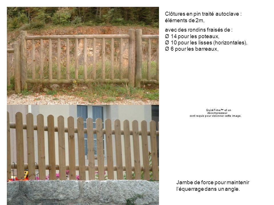 Barraudage Clôtures en pin traité autoclave : éléments de 2m, avec des rondins fraisés de : Ø 14 pour les poteaux, Ø 10 pour les lisses (horizontales), Ø 6 pour les barreaux, Jambe de force pour maintenir léquerrage dans un angle.