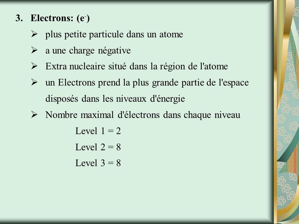 2.Neutrons: (n°) grandes particules dans le noyau de l atome servant à maintenir le noyau en même temps n a pas de charge Protons et neutrons forment 99,9% de la massee de l atome, mais très peu de volume.
