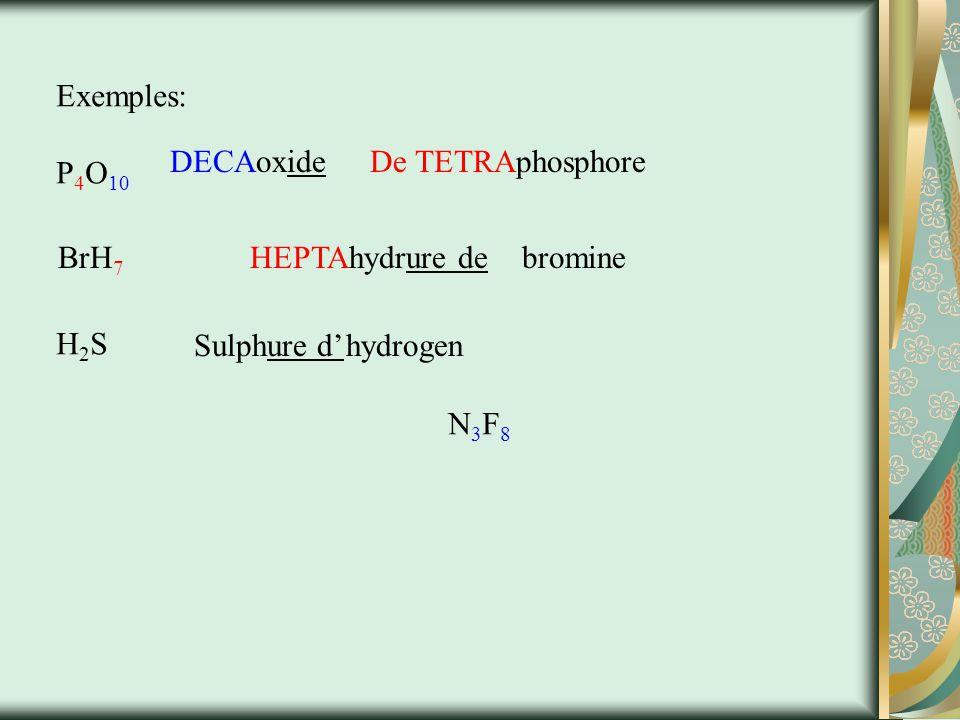 Memorize eauH 2 O (l) NH 3 (g) MéthaneCH 4 (g) MéthanolCH 3 (g) EthaneC 2 H 5 (g) EthanolC 2 H 5 OH (l) SucreC 12 H 22 O 11 (s) Glucose Hydrogen peroxide Ozone Aussi, phosphore P 4 and Soufre S 8