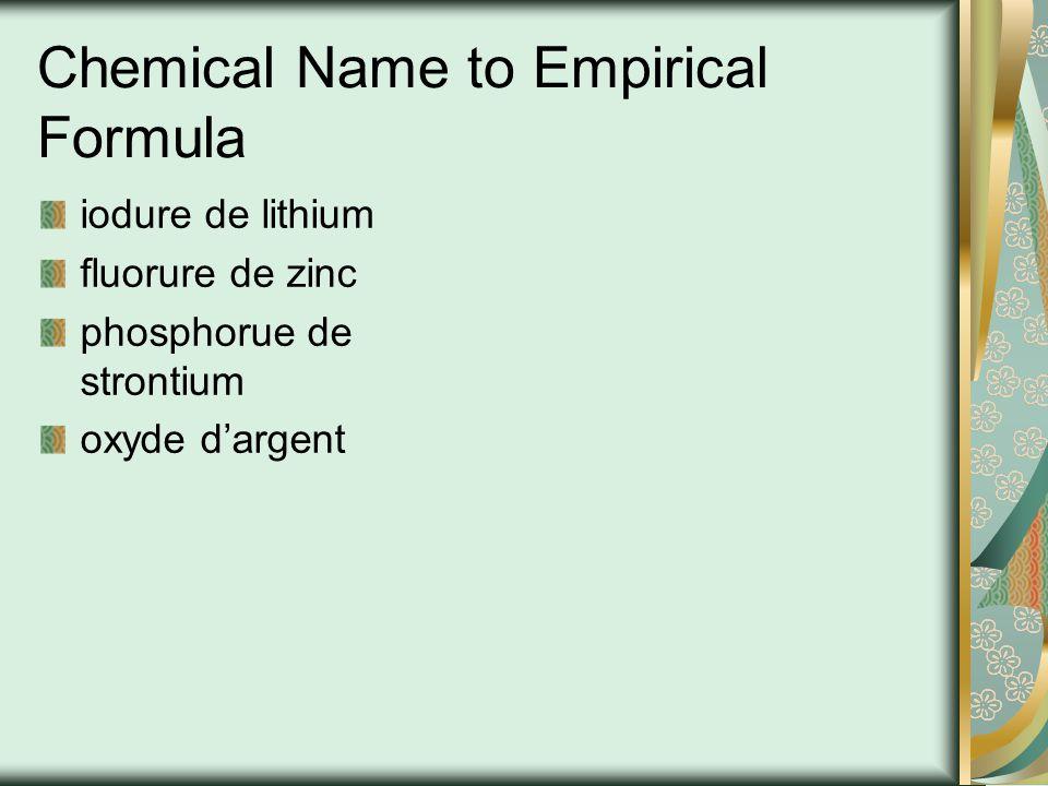 Nom KCl MgBr 2 Ba 3 N 2 ScP