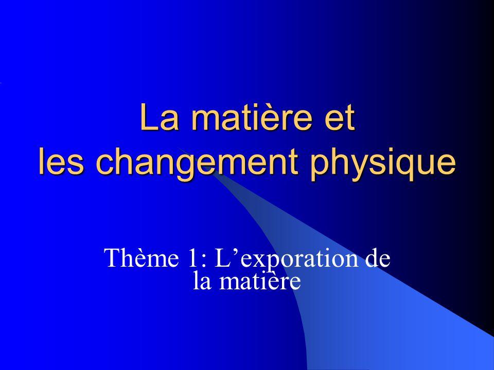 La matière et les changement physique Thème 1: Lexporation de la matière