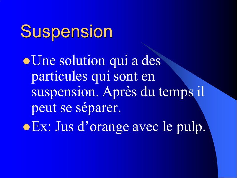 Émulsions Une solution que normalement séparer. Un agent démulsifiants est additionner pour empêcher la séparation. Ex: eau et le vinaigre.