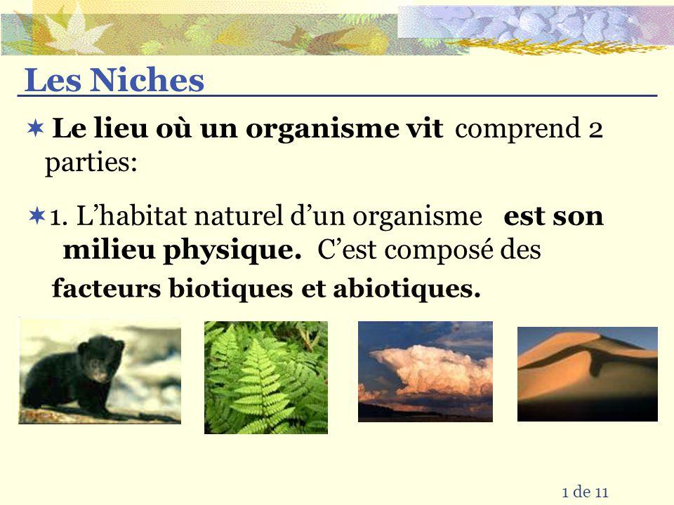 Les Niches comprend 2 parties: 1 de 11 Le lieu où un organisme vit est son milieu physique.
