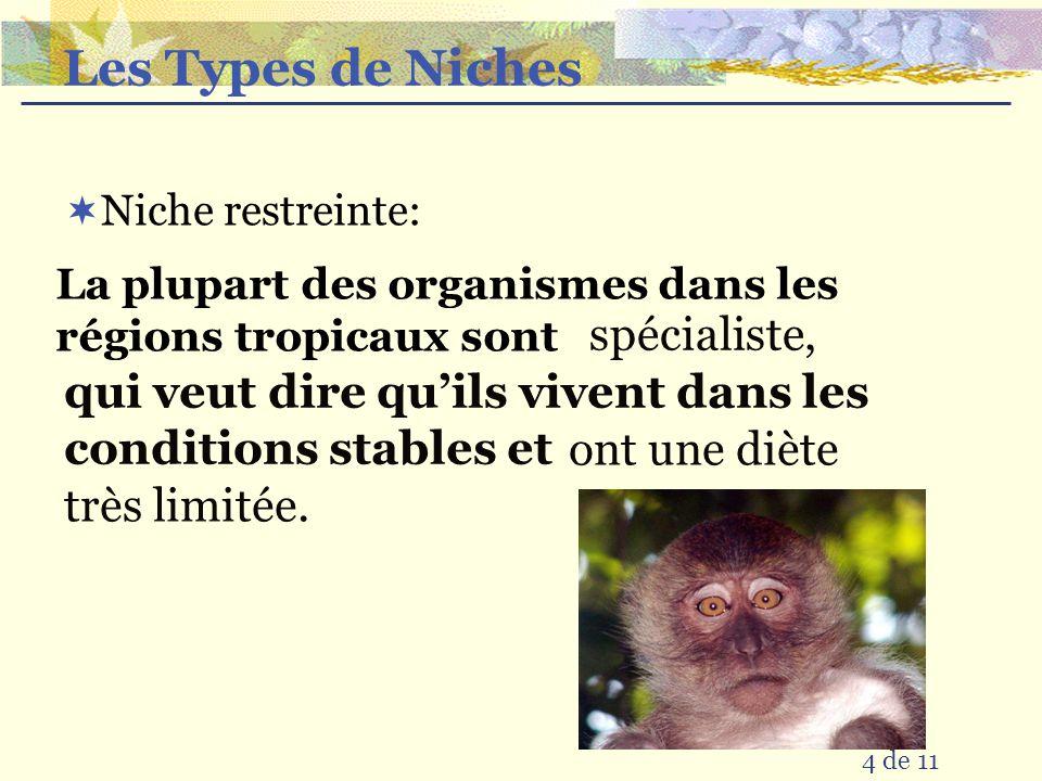 Les Types de Niches Niche restreinte: La plupart des organismes dans les régions tropicaux sont qui veut dire quils vivent dans les conditions stables et spécialiste, ont une diète très limitée.