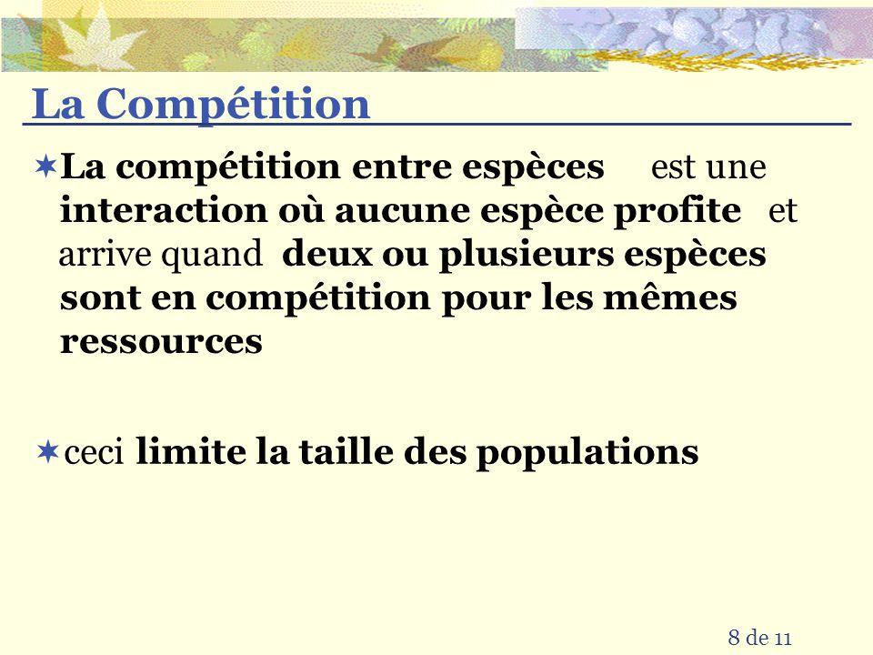 La Compétition est une et arrive quand ceci 8 de 11 deux ou plusieurs espèces sont en compétition pour les mêmes ressources interaction où aucune espèce profite La compétition entre espèces limite la taille des populations