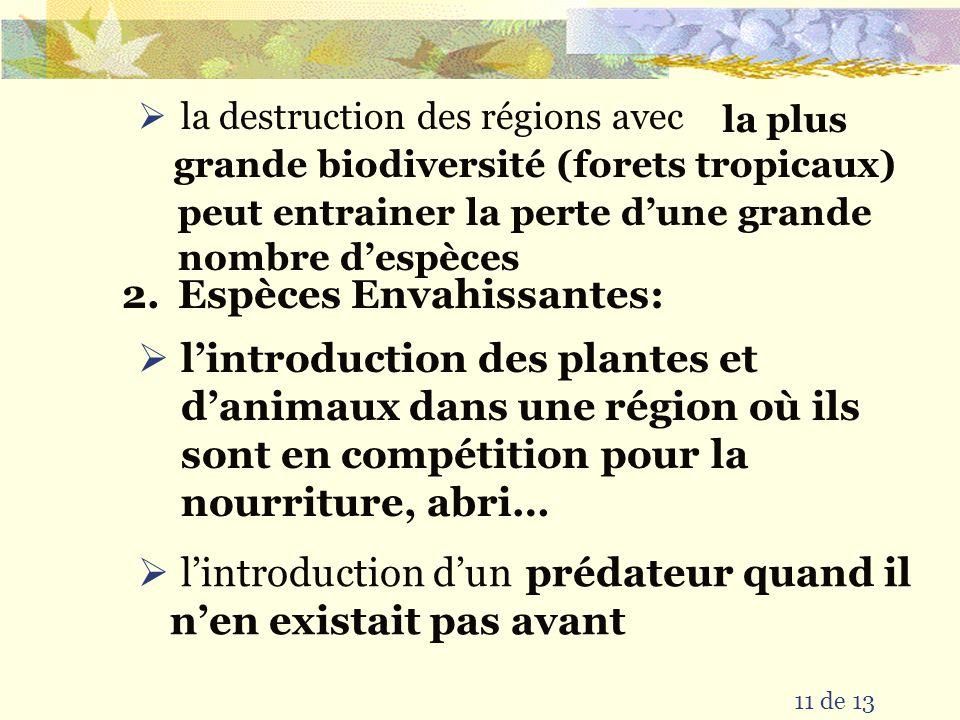 Des Causes Humaines dExtinction & dExtirpation aujourdhui 10 de 13 1.