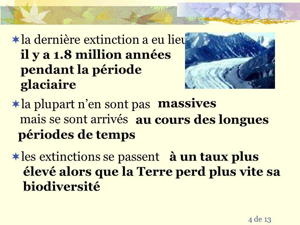 3 de 13 il y a eu 5 extinctions massives à cause des événements catastrophiques (éruptions volcaniques, impact de météorite etc) qui ont changé lenvironnement sur la Terre