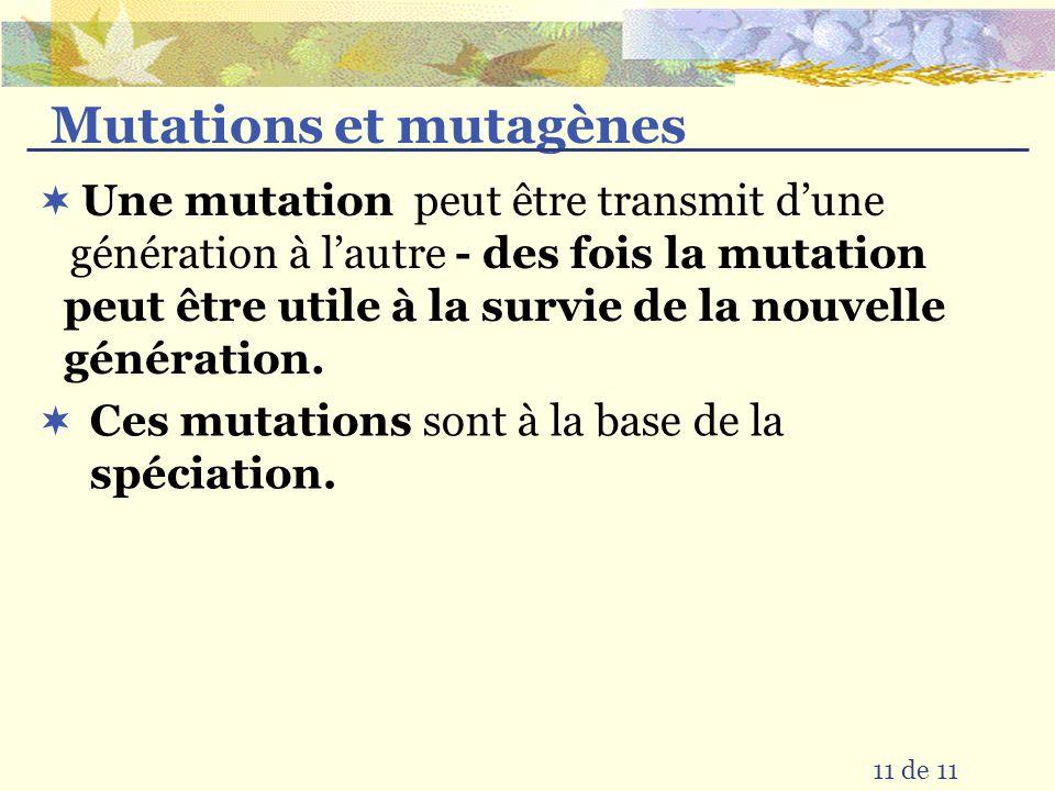 Mutations et mutagènes peut être transmit dune génération à lautre 11 de 11 Une mutation - des fois la mutation peut être utile à la survie de la nouv