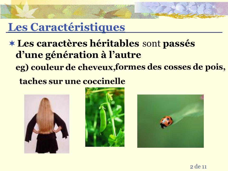 Les Caractéristiques sont 2 de 11 eg) couleur de cheveux, passés dune génération à lautre Les caractères héritables taches sur une coccinelle formes d