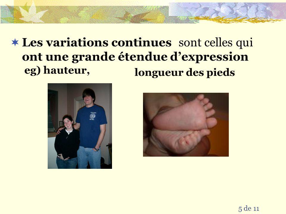 5 de 11 sont celles qui eg) hauteur, ont une grande étendue dexpression Les variations continues longueur des pieds
