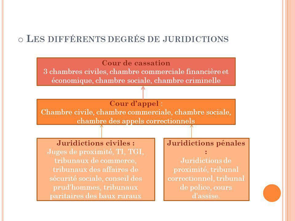o L ES DIFFÉRENTS DEGRÉS DE JURIDICTIONS Cour de cassation 3 chambres civiles, chambre commerciale financière et économique, chambre sociale, chambre