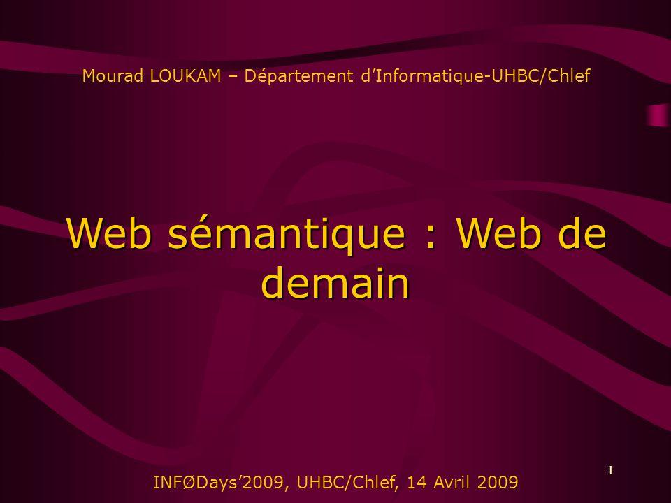 1 Mourad LOUKAM – Département dInformatique-UHBC/Chlef Web sémantique : Web de demain INFØDays2009, UHBC/Chlef, 14 Avril 2009