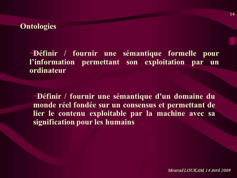 14 Mourad LOUKAM, 14 Avril 2009 Ontologies èDéfinir / fournir une sémantique formelle pour linformation permettant son exploitation par un ordinateur