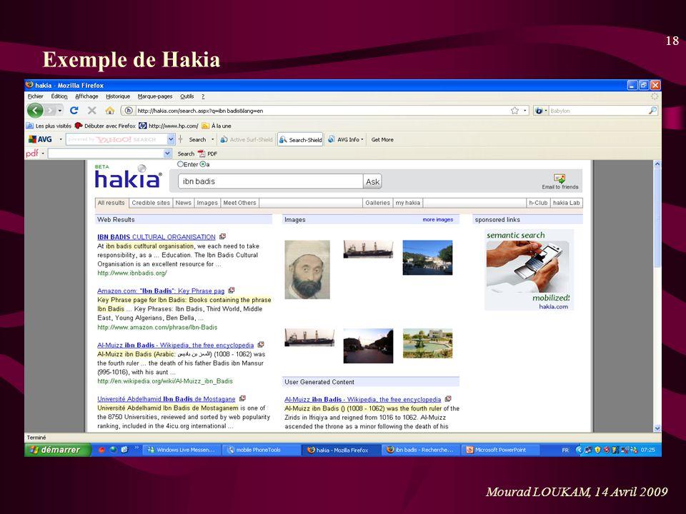 18 Mourad LOUKAM, 14 Avril 2009 Exemple de Hakia