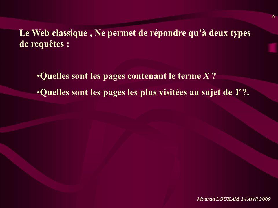 6 Le Web classique, Ne permet de répondre quà deux types de requêtes : Quelles sont les pages contenant le terme X ? Quelles sont les pages les plus v