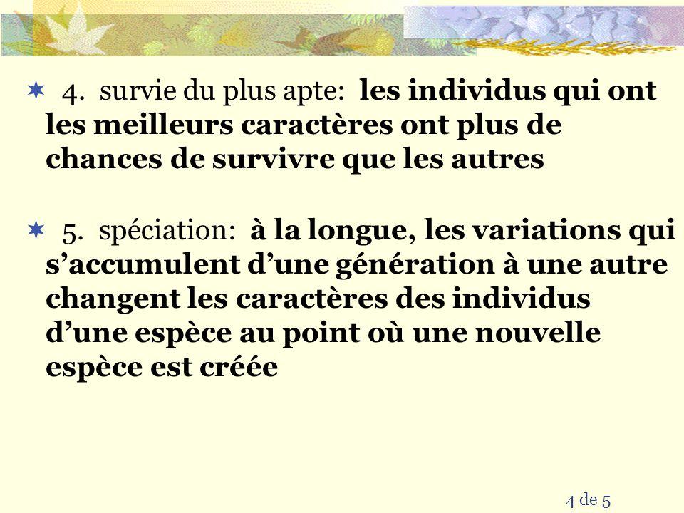 4 de 5 4. survie du plus apte: les individus qui ont les meilleurs caractères ont plus de chances de survivre que les autres 5. spéciation: à la longu