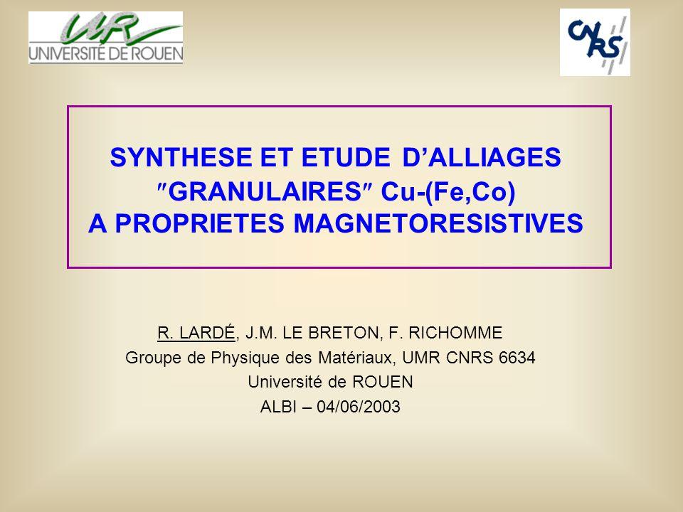 SYNTHESE ET ETUDE DALLIAGES GRANULAIRES Cu-(Fe,Co) A PROPRIETES MAGNETORESISTIVES R. LARDÉ, J.M. LE BRETON, F. RICHOMME Groupe de Physique des Matéria