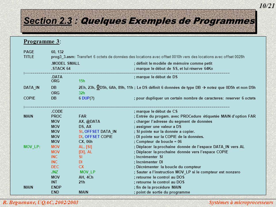 Section 2.3 : Quelques Exemples de Programmes Programme 3: PAGE60, 132 TITLEprog3_3.asm: Transfert 6 octets de données des locations avec offset 0010h