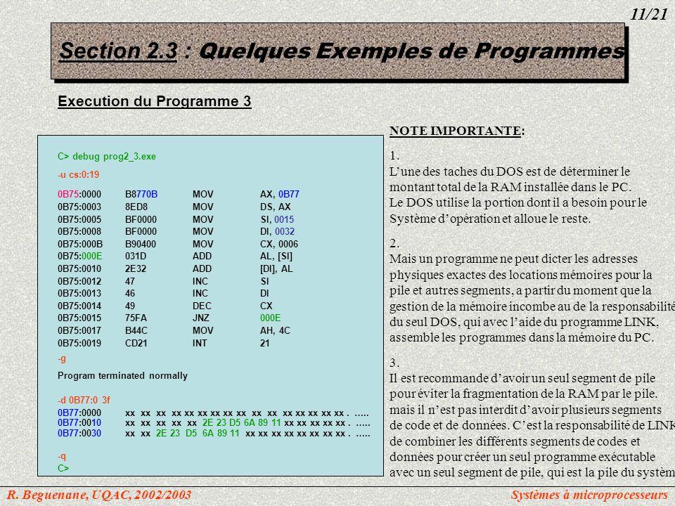 Execution du Programme 3 C> debug prog2_3.exe -u cs:0:19 0B75:0000B8770BMOVAX, 0B77 0B75:00038ED8MOVDS, AX 0B75:0005BF0000MOVSI, 0015 0B75:0008BF0000M