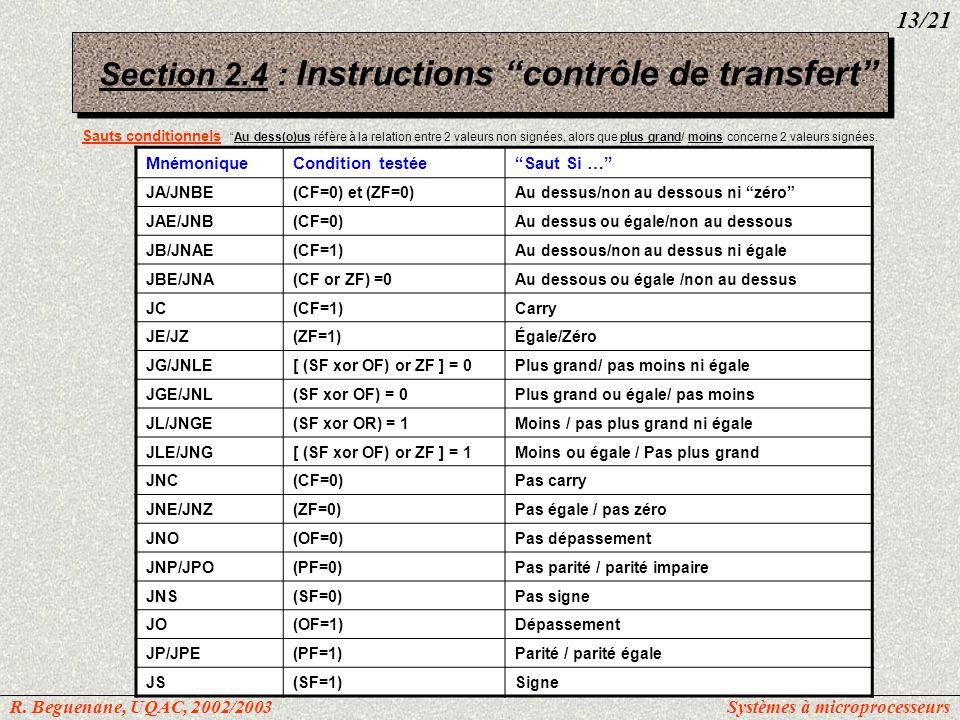 Section 2.4 : Instructions contrôle de transfert Sauts conditionnelsAu dess(o)us réfère à la relation entre 2 valeurs non signées, alors que plus gran
