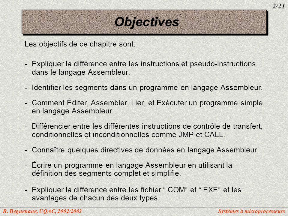 Objectives Les objectifs de ce chapitre sont: -Expliquer la différence entre les instructions et pseudo-instructions dans le langage Assembleur. -Iden