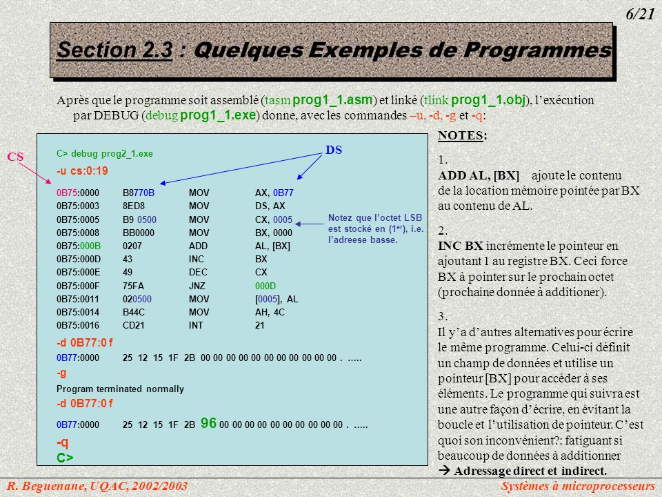 Utilisation de CALL PAGE60, 132 TITLEprog_generic.asm: …..MODEL SMALL; définit le modèle de mémoire comme petit.STACK 64; marque le début de SS, et lui réserve 64Ko ;-----------------------------------------------------------------------------------------------------------------------------------------------------------------------------------------------------------.DATA; marque le début de DS DATA_INDB2Eh, 23h, 28h, 6Ah, 89h, 11h ; COPIEDB6 DUP(?); ;-----------------------------------------------------------------------------------------------------------------------------------------------------------------------------------------------------------.CODE; marque le début de CS MAINPROCFAR; Point dentrée du programme pour le DOS MOVAX, @DATA; charger ladresse du segment de données MOVDS, AX; assigner une valeur a DS CALLSUBR_1 CALLSUBR_2 MOVAH, 4Ch; retourne le control au DOS INT21h ; retourne le control au DOS MAINENDP; fin de la procédure MAIN ;----------------------------------------------------------------------------------------------------------------------------------------------------------------------------------------------------------- SUBR1PROC … RET SUBR1ENDP ;----------------------------------------------------------------------------------------------------------------------------------------------------------------------------------------------------------- SUBR2PROC … RET SUBR2ENDP ;----------------------------------------------------------------------------------------------------------------------------------------------------------------------------------------------------------- ENDMAIN; point de sortie du programme Section 2.4 : Instructions contrôle de transfert R.
