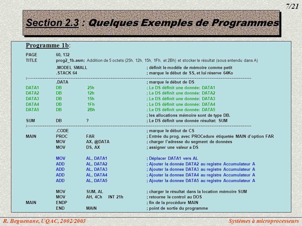 Section 2.3 : Quelques Exemples de Programmes Programme 2: PAGE60, 132 TITLEprog2_2.asm: Addition de 4 mots (234Dh, 1DE6h, 3BC7h, et 566Ah) et stocker le résultat (dans A).MODEL SMALL; définit le modèle de mémoire comme petit.STACK 64; marque le début de SS, et lui réserve 64Ko ;-----------------------------------------------------------------------------------------------------------------------------------------------------------------------------------------------------------.DATA; marque le début de DS DATA_INDW234Dh, 1DE6h, 3BC7h, 566Ah ; Le DS définit 5 données et une donnée résultat ORG10h; Note: La directive ORG permet dassigner une adresse offset ; a une variable (nom).