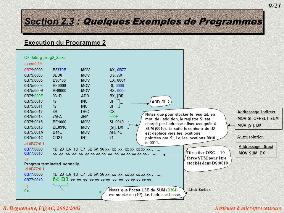 Section 2.3 : Quelques Exemples de Programmes Programme 3: PAGE60, 132 TITLEprog3_3.asm: Transfert 6 octets de données des locations avec offset 0010h vers des locations avec offset 0028h.MODEL SMALL; définit le modèle de mémoire comme petit.STACK 64; marque le début de SS, et lui réserve 64Ko ;-----------------------------------------------------------------------------------------------------------------------------------------------------------------------------------------------------------.DATA; marque le début de DS ORG15h DATA_INDB2Eh, 23h, 0 D5h, 6Ah, 89h, 11h ; Le DS définit 6 données de type DB notez que 0D5h et non D5h ORG32h COPIEDB6 DUP(?); pour dupliquer un certain nombre de caracteres: reserver 6 octets ;-----------------------------------------------------------------------------------------------------------------------------------------------------------------------------------------------------------.CODE; marque le début de CS MAINPROCFAR; Entrée du progam.