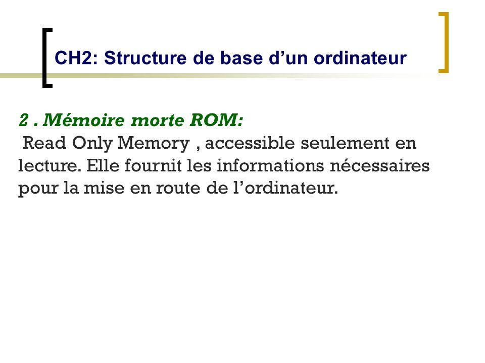 2. Mémoire morte ROM: Read Only Memory, accessible seulement en lecture. Elle fournit les informations nécessaires pour la mise en route de lordinateu