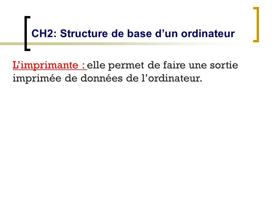 CH2: Structure de base dun ordinateur Limprimante : elle permet de faire une sortie imprimée de données de lordinateur.