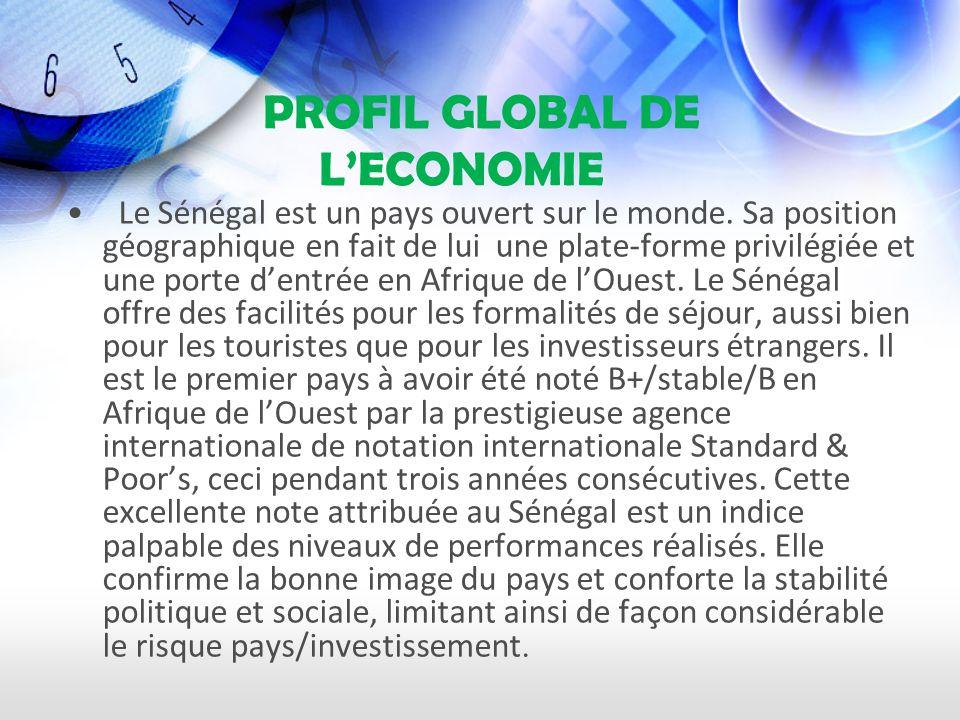 PROFIL GLOBAL DE LECONOMIE Le Sénégal est un pays ouvert sur le monde.